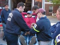 George Washington University EMTs load a patient into their ambulance